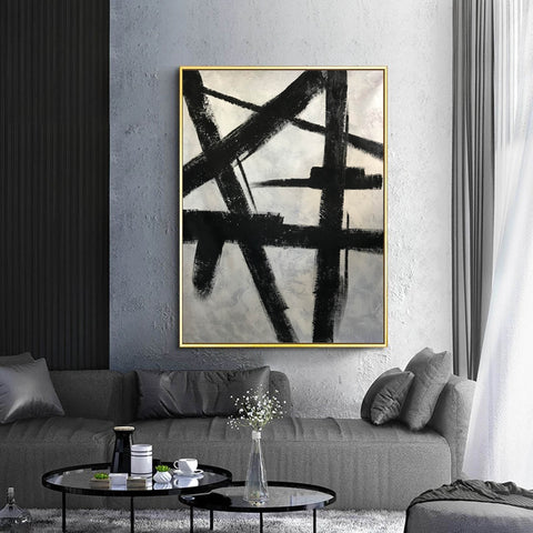 Image of Black and white modern paintings | Black and white modern art paintings | White artwork  F56-8