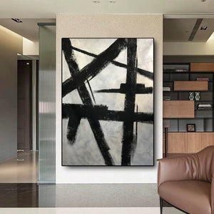 Black and white modern paintings | Black and white modern art paintings | White artwork  F56-10