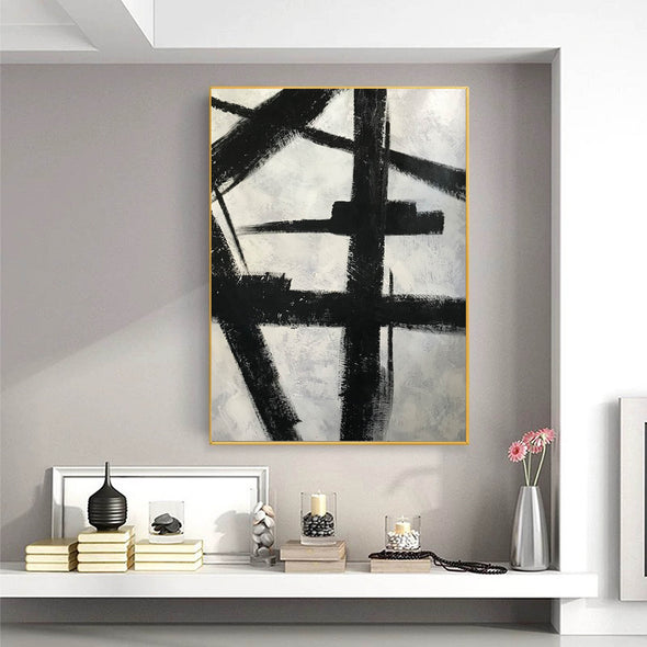 Black and white art drawings | White paint | White wall art F57-1