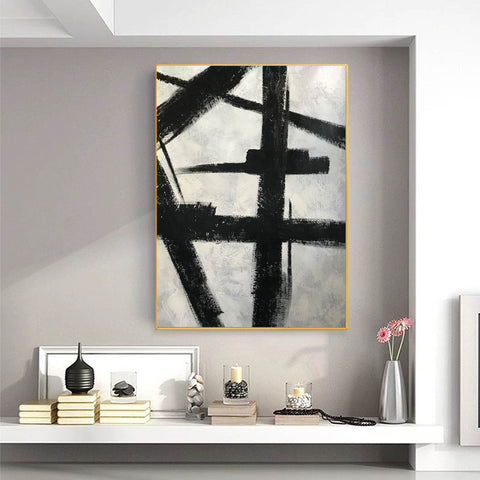 Image of Black and white art drawings | White paint | White wall art F57-1
