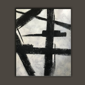 Black and white art drawings | White paint | White wall art F57-5