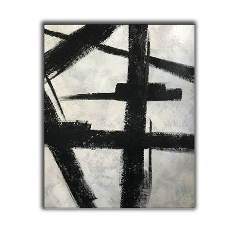 Image of Black and white art drawings | White paint | White wall art F57-6