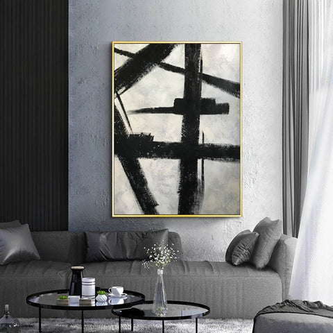 Image of Black and white art drawings | White paint | White wall art F57-2