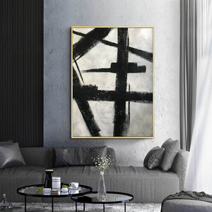 Black and white art drawings | White paint | White wall art F57-2