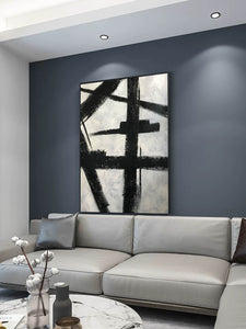 Black and white art drawings | White paint | White wall art F57-8