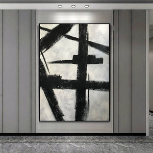 Black and white art drawings | White paint | White wall art F57-9