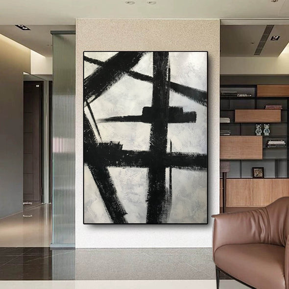 Black and white art drawings | White paint | White wall art F57-10