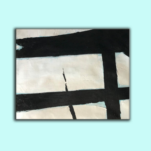 Large black and white painting | Black and white abstract paintings on canvas F58-5