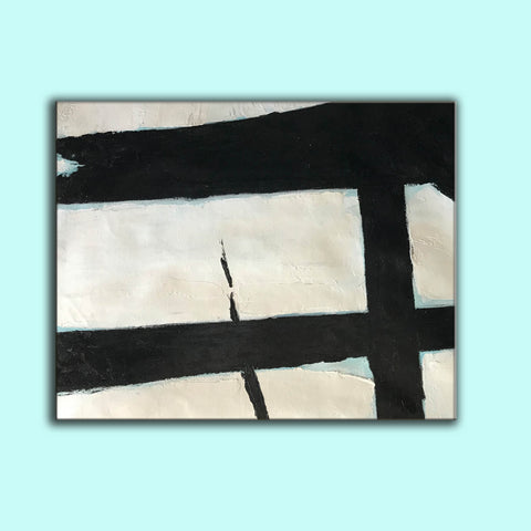 Image of Black and white abstract art paintings | Black and white prints for living room F58-5