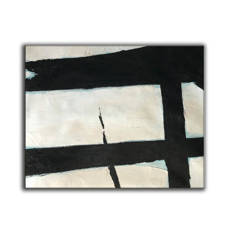 Image of Black and white abstract art paintings | Black and white prints for living room F58-6