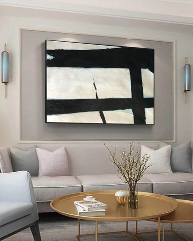 Image of Black and white abstract art paintings | Black and white prints for living room F58-1