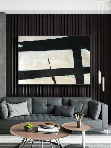 Image of Black and white abstract art paintings | Black and white prints for living room F58-7
