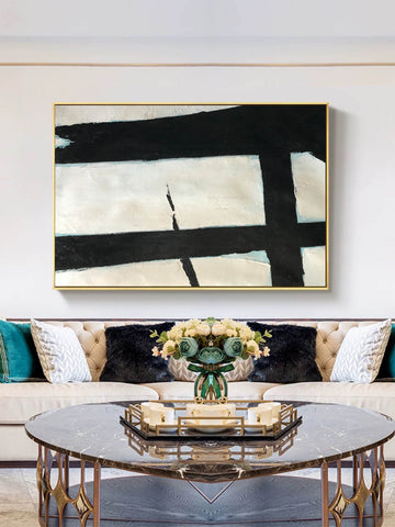 Image of Black and white abstract art paintings | Black and white prints for living room F58-9