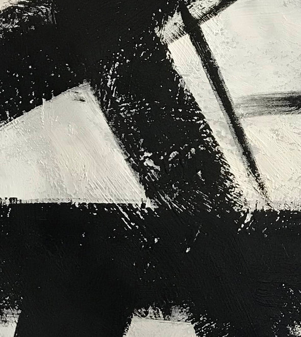 Black and white abstract art on canvas | Painting in black and white F59-3