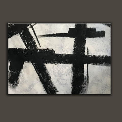 Black and white abstract art on canvas | Painting in black and white F59-7