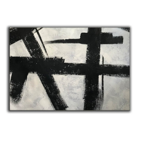 Black and white abstract art on canvas | Painting in black and white F59-8