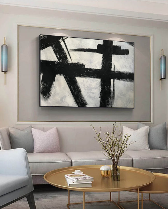 Black and white abstract art on canvas | Painting in black and white F59-10