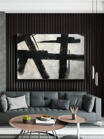 Black and white abstract art on canvas | Painting in black and white F59-2