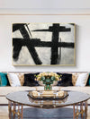 Black and white abstract art on canvas | Painting in black and white F59-5