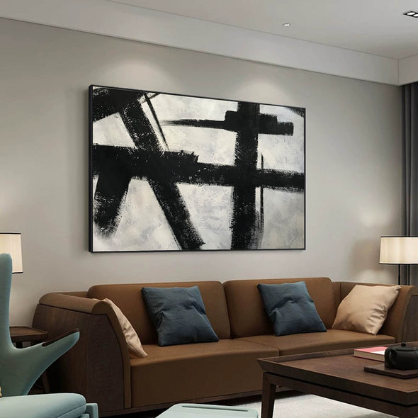 Black and white abstract art on canvas | Painting in black and white F59-1
