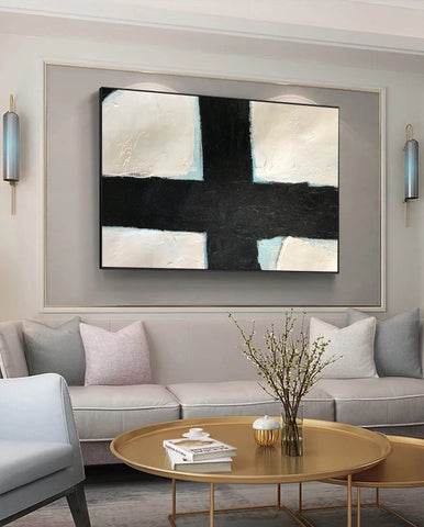 Image of Black and white canvas painting | Large black and white wall art F60-2