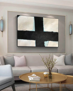 Black and white canvas painting | Large black and white wall art F60-2