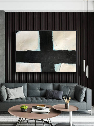 Black and white abstract wall art | Large black and white art F60-9