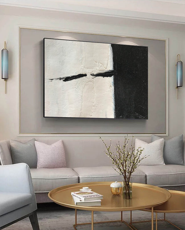 Oversized black and white canvas art | Black and white modern art F61-10