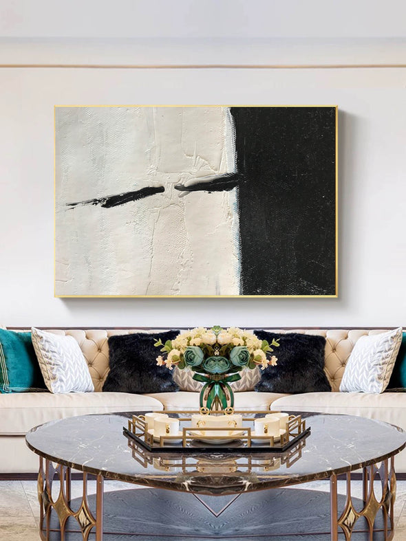 Oversized black and white canvas art | Black and white modern art F61-9