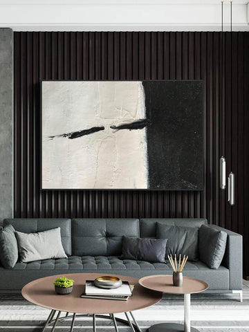 Oversized black and white canvas art | Black and white modern art F61-1
