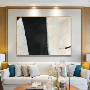 Large black and white artwork | Black white art paintings | Black white abstract painting F62-1