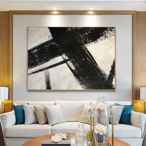 Image of Black and white canvas wall art | Large black and white abstract painting 63-1