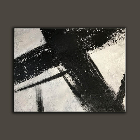 Image of Black and white canvas wall art | Large black and white abstract painting 63-5