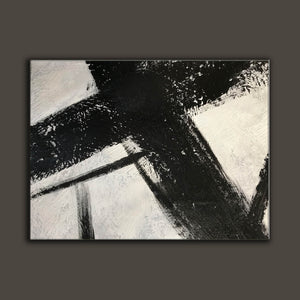 Black and white canvas wall art | Large black and white abstract painting 63-5