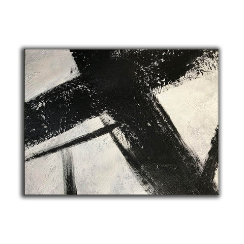 Image of Black and white canvas wall art | Large black and white abstract painting 63-6