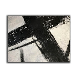 Black and white canvas wall art | Large black and white abstract painting 63-6
