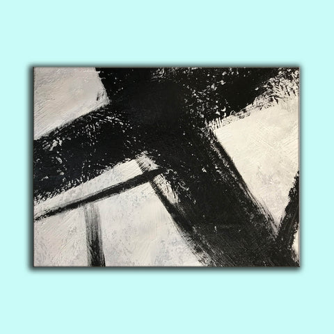 Image of Black and white canvas wall art | Large black and white abstract painting 63-7