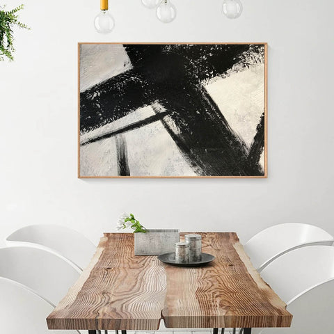 Image of Black and white canvas wall art | Large black and white abstract painting 63-8