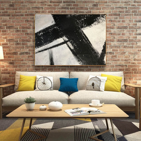 Image of Black and white canvas wall art | Large black and white abstract painting 63-9