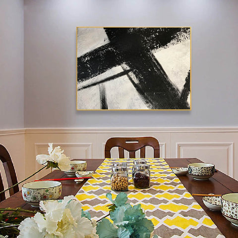 Image of Black and white canvas wall art | Large black and white abstract painting 63-2