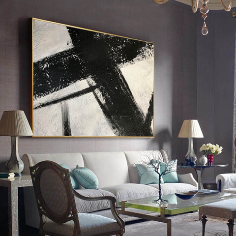 Image of Black and white canvas wall art | Large black and white abstract painting 63-10