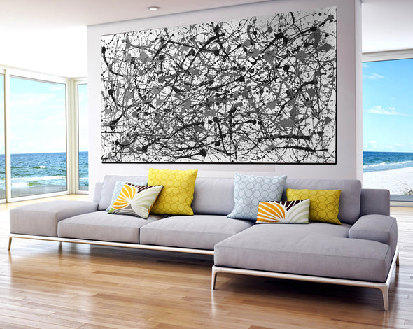 Black and white canvas art | White abstract art F68-2