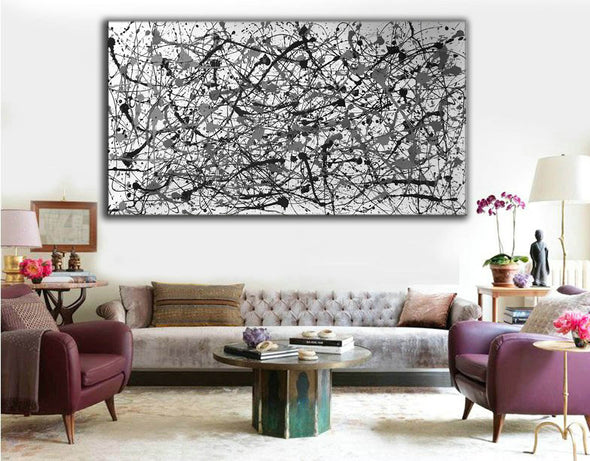Black and white canvas art | White abstract art F68-9