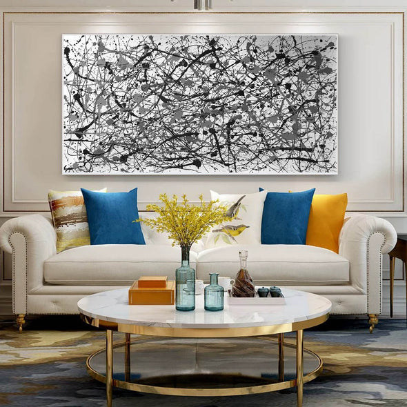 Black and white canvas art | White abstract art F68-1