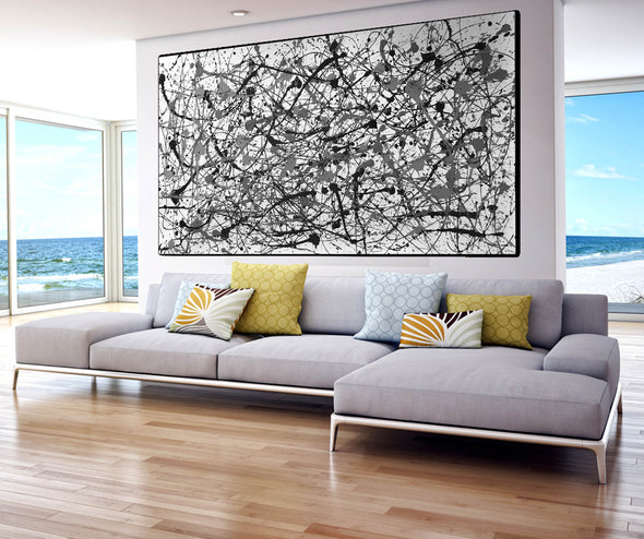 Black and white canvas art | White abstract art F68-10