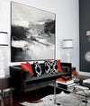 Black and white contemporary paintings | Black and white abstract oil painting F75-2