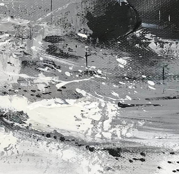 Black and white contemporary paintings | Black and white abstract oil painting F75-4