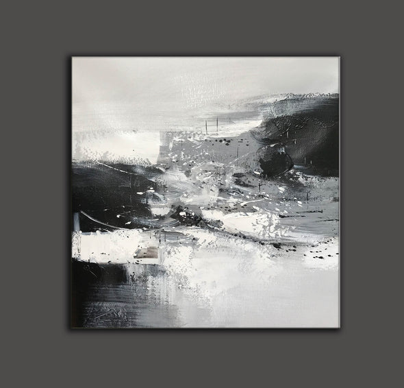 Black and white contemporary paintings | Black and white abstract oil painting F75-6