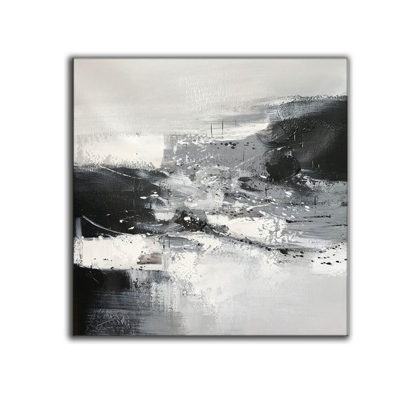 Black and white contemporary paintings | Black and white abstract oil painting F75-7