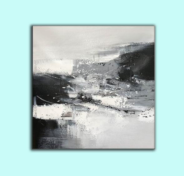 Black and white contemporary paintings | Black and white abstract oil painting F75-8